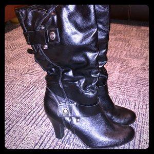 a.n.a Women's Black High Heel Boots